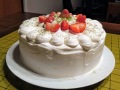 """Baking a fresh cream strawberry cake for my dad's birthday."" — Angela Yue, 10"