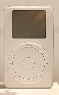 "Apple introduced the first-generation iPod on October 23, 2001, with the slogan ""1,000 songs in your pocket"". The first iPod had a black and white LCD (liquid-crystal display) screen and featured a 5 GB hard drive"