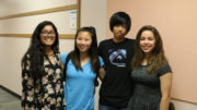 Organizers of the More Than a Distraction campaign, Sophomores Ananya Verma, Flora Chang, Andrew Wang, and Alice Drozd, pose at the conclusion of the Board Meeting.